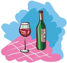 Vector illustration of wine bottle and glass.