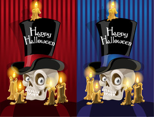 Terrible banner with a skull in the cylinder - Happy Halloween