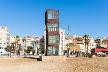 The Barceloneta beach. The beach is very popular below young tourists, who visit Barcelona. The beach is in close to down town and very famous