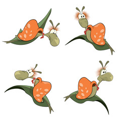 illustration of a set of cartoon cute snails