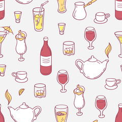 Seamless pattern with doodle drinks in vector. Hand drawn backgrond for design