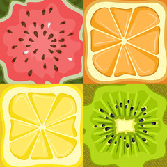 Set of four fruits, watermelon, lemon, orange, kiwi.