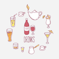 Set of doodles drinks in vector. Backgrond with beverages for design