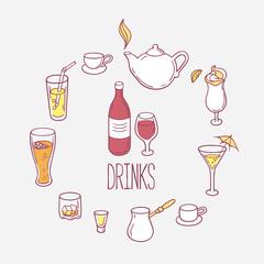 Set of doodles drinks in vector. Backgrond with beverages for design