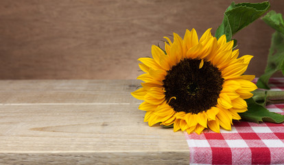 Beautiful sunflower and red napkin on wooden background