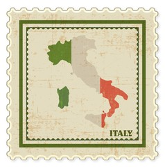 VINTAGE STAMP WITH ITALY MAP BACKGROUND VECTOR