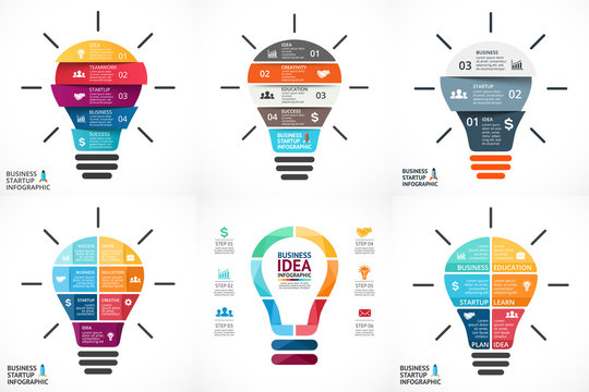 Vector light bulb infographic. Template for circle diagram