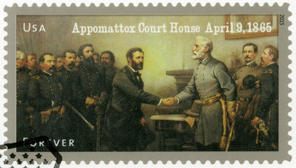 USA - 2015: shows Robert E. Lee's surrender to Ulysses S. Grant at Appomattox Court House on April 9, series The Civil War 1865