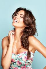 Portrait of a smiling brunette lady