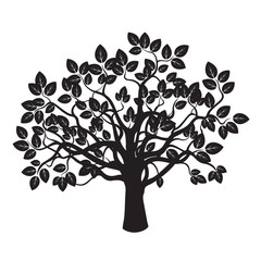 Black vector Tree and Leafs