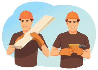 Two smiling carpenters in helmets. One holds wood planks. Other one holds a drill. Craftsmen team.