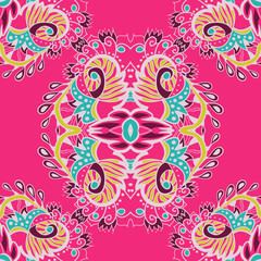 Abstract vector seamless pattern on pink background. Vector illustration. Endless pattern.