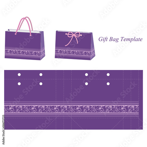 purple gift bag template with floral pattern stock image and