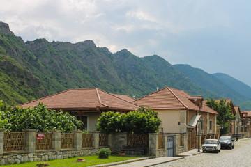 Mtskheta houses on a background Range