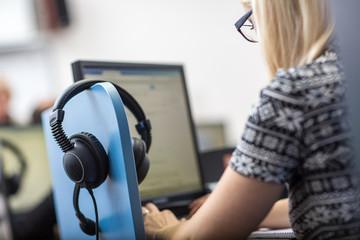 Interpreting - Female interpretr  simultaneous interpreter booth