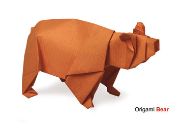 Origami paper bear