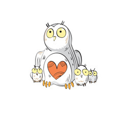 Card with cartoon mother owl and little owlets.