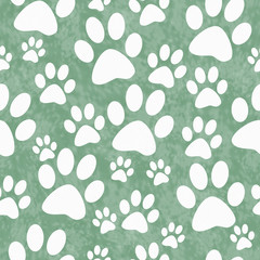 Green and White Dog Paw Prints Tile Pattern Repeat Background