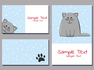 set of cards templates with a cute grey kitten on a snowy background