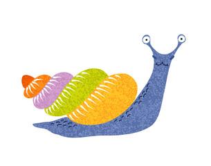 Snail. Cute cartoon character, hand-drawn, grunge textured