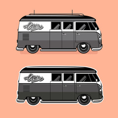 Vector illustration of a retro van