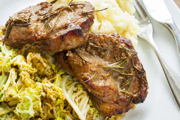 Pork chops on cabbage