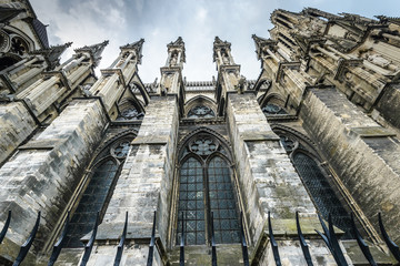 Reims (Marne, Champagne-Ardenne, France) - Exterior of the cathedral in gothic style, .