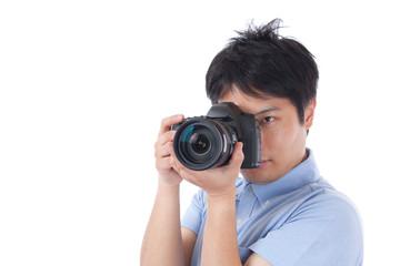 カメラ カメラマン 撮影 写真 男性 ポロシャツ