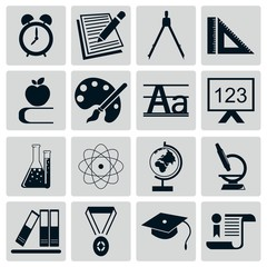 Education And School Icon Set Silhouette