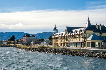 Spoed Foto op Canvas Stad aan het water Puerto Natales on the Strait Of Magellan, Patagonia, Chile