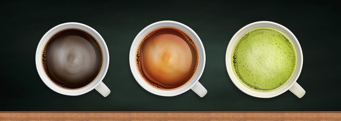 coffee and tea close-up image