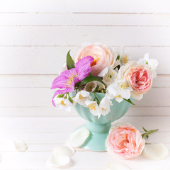 Roses, jasmine and clematis   flowers