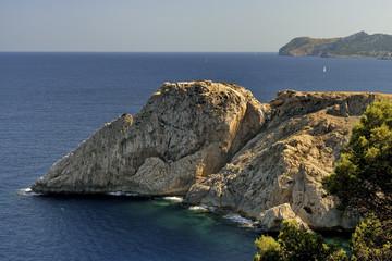 Punta de Capdpera, Majorca, Spain, a fragment of coast, panorama