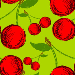Vector seamless background with hand drawn cherries