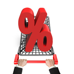 Hands pushing shopping cart with 3D red percentage sign