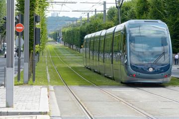 Tram leaving Stalingrad stop on line B in Bordeaux, France
