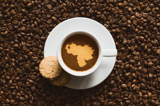 Still life - coffee with map of Venezuela