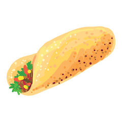 Chicken fajita sandwich vector illustration. Mexican food
