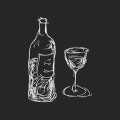 Simple doodle of a wine bottle and glass