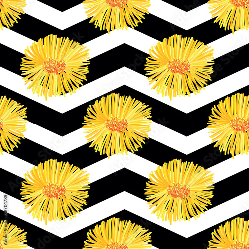 """""""Floral Daisy Seamless Repeat Pattern. Flowers Background"""