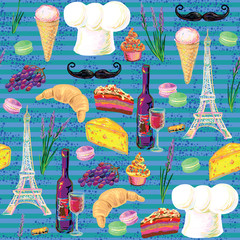 Seamless Paris French food vector pattern with Eiffel Tower, chef's hat, mustache, wine glass, grapes, bottle of wine and cake, croissant, ice cream, cupcakes, macaroon, cheese