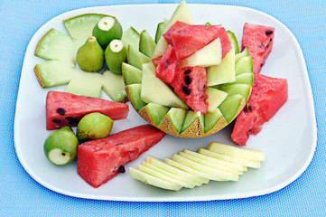 Obst Sommer- Wassermelone Honigmelone