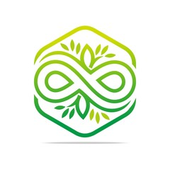 Logo Design Icon Infinity Heaxagon Connecting Leaf Green Symbol Abstract Vector
