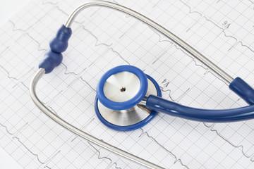 Stethoscope with ekg cardiogram chart