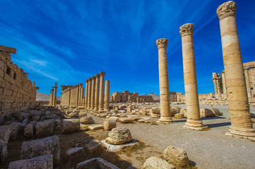 Columns in Palmyra, Syria. UNESCO World Heritage Site