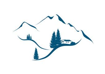 illustration einer berglandschaft mit Tannen und berghütte