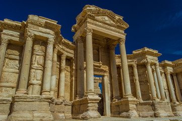 Close view of the Roman ruins of Palmyra, Syria