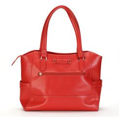 ハンドバッグ/白い背景の赤い革のバッグ