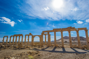 Sunny day in the desert of Syria, Roman ruins