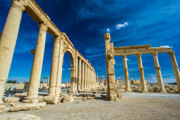 Desert of Syria full of the ruins in Roman style